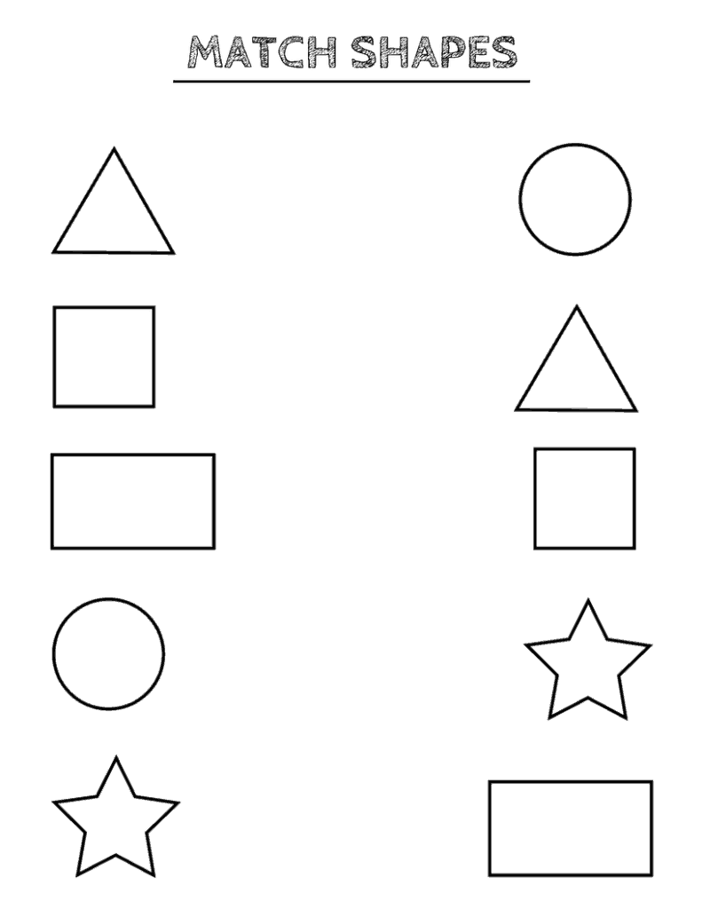 Free printable shapes worksheets coloring pages and tracing shapes – Matching Shapes Worksheet