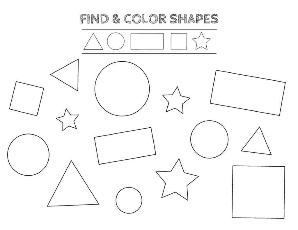 Free printable shapes worksheets for toddlers and preschoolers for Color by shape coloring pages