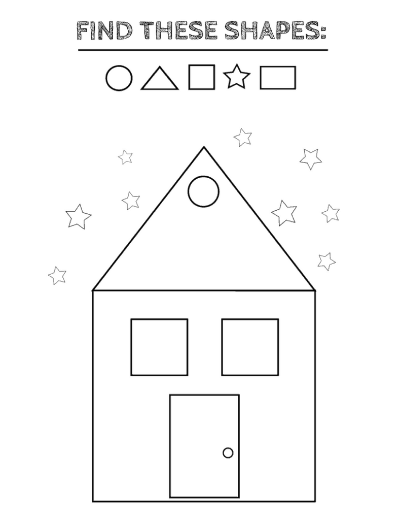 Free printable shapes worksheets - coloring pages and tracing shapes