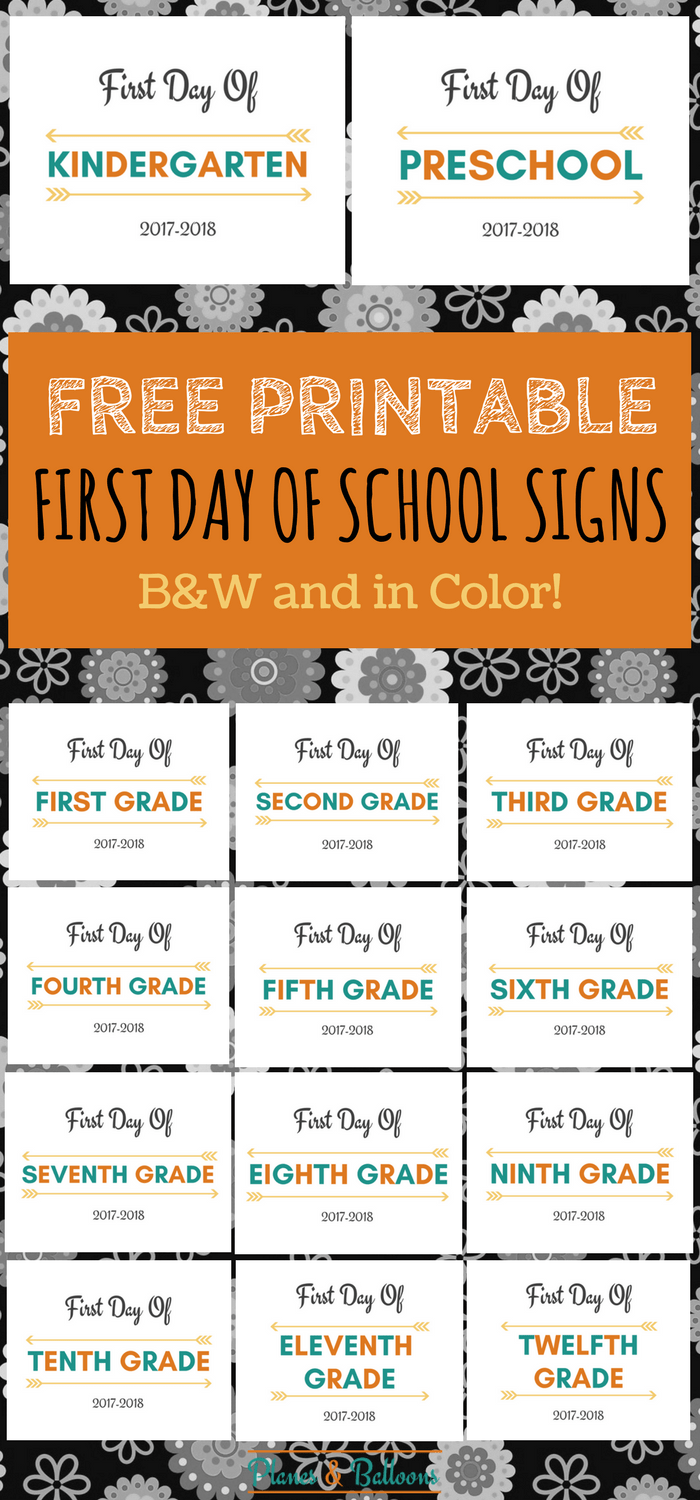 First Day Of School Printable on Free Learning Printables