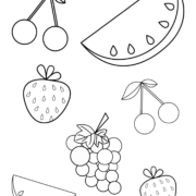 Summer fruits coloring page for toddlers and preschoolers
