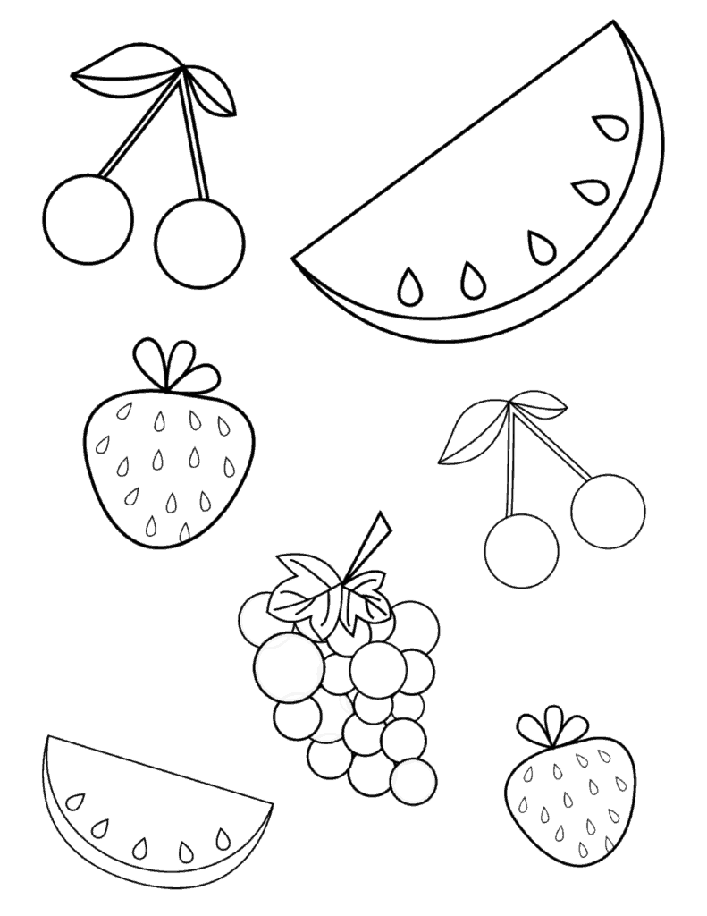 Free summer fruits coloring page pdf for toddlers Coloring book for kindergarten pdf