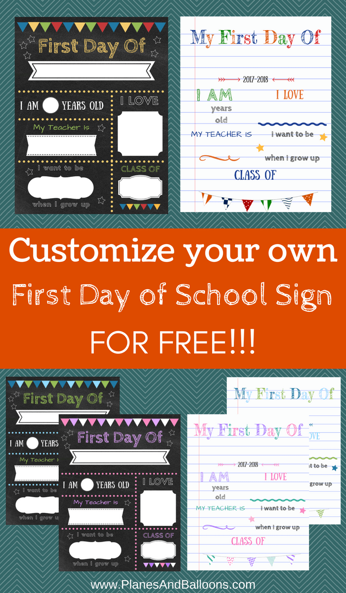 This is a graphic of Massif First Day of School Template Printable