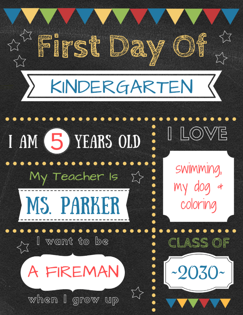 photo relating to Last Day of Preschool Sign Printable identified as Editable initially working day of higher education indicators in direction of edit and down load for