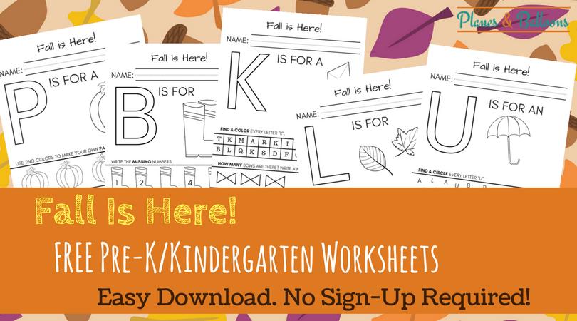Fall Worksheets Kindergarten Printable For Free- No Sign
