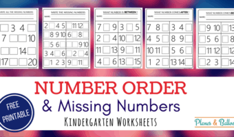 Free number order practice worksheets for kindergarten