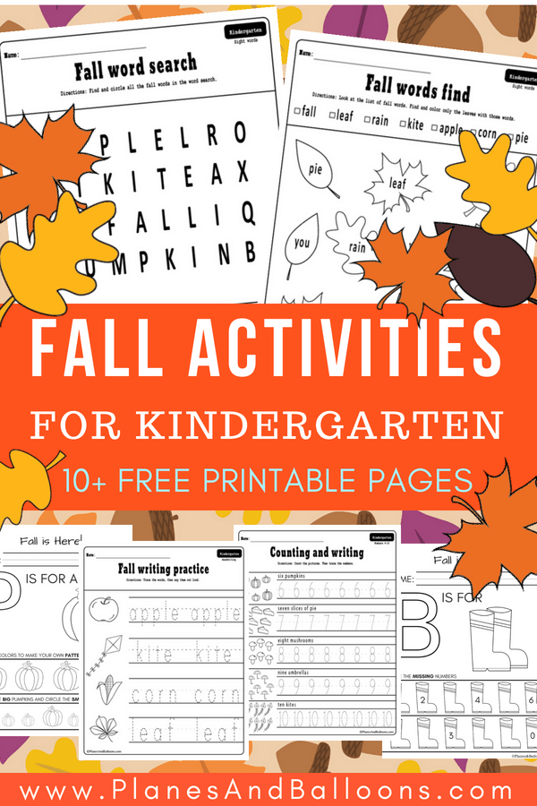 Fall worksheets kindergarten free printable