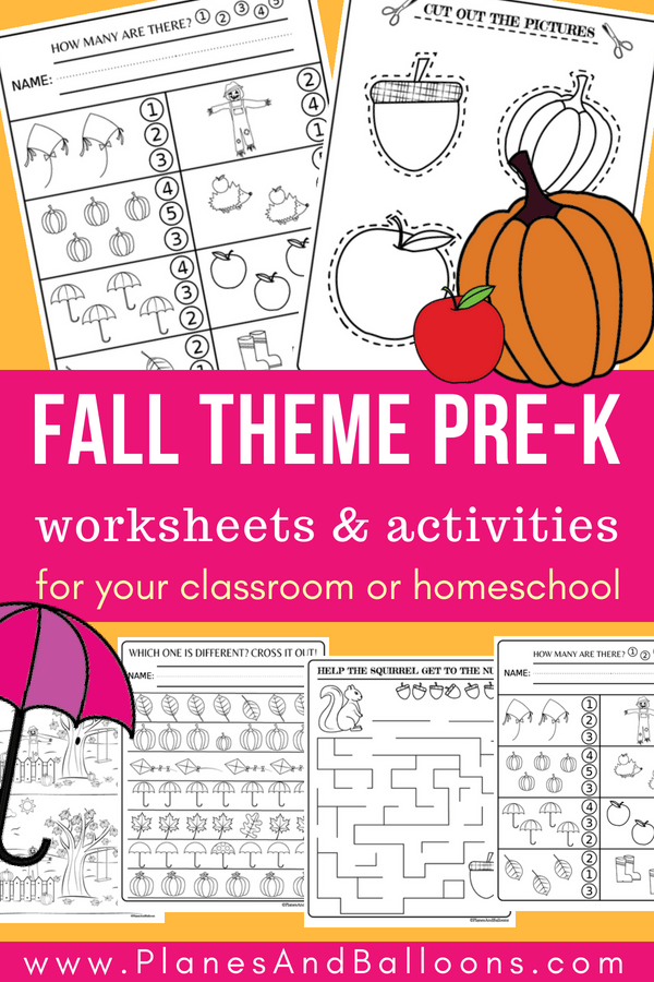 PreK Fall activities free printable. Supplement your Fall preschool lessons with these fun math, fine motor activities and fall coloring pages for kids. Perfect for thinking skills, pre-writing skills, cutting skills, fine motor skills and more! #fall #freeworksheets #preschool #prek