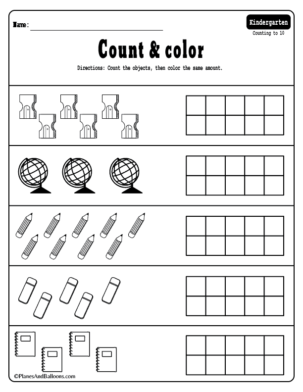 counting worksheets for kindergarten pdf