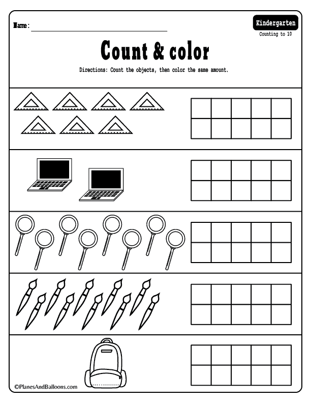 Counting worksheets kindergarten pdf