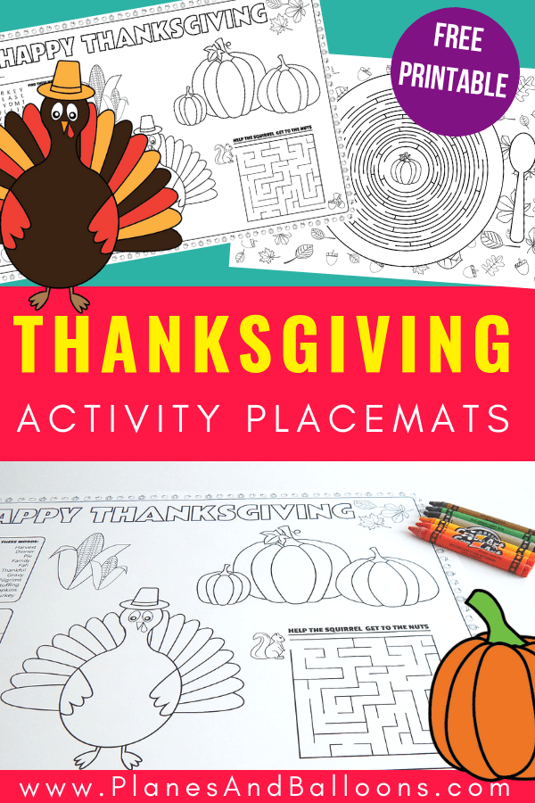 Free printable Thanksgiving place mats for kids to color. Use these Thanksgiving placemats for preschoolers and older children to keep them busy during long Thanksgiving dinner.  #thanksgiving #prek #turkeyday #coloring #freeprintables