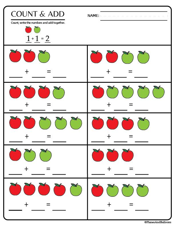 Kindergarten Math Worksheets Pdf 01 Planes Balloons Printables