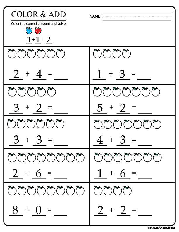 Kindergarten Math Worksheets Pdf 04 Planes Balloons Printables