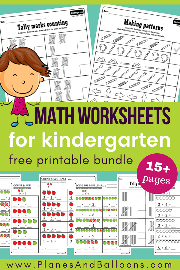 Kindergarten math worksheets pdf - perfect for kindergarten math centers! Addition worksheets, subtraction worksheets, tally marks, and more! #kindergarten