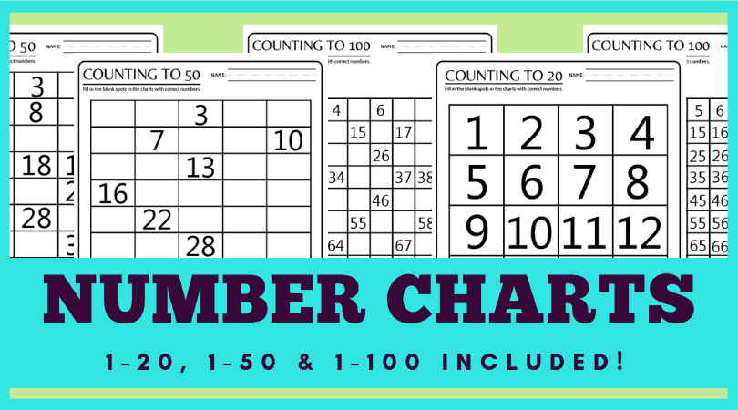 photo about Free Printable Number Chart identified as 100 Chart Printable Worksheets for Counting Miss out on Counting