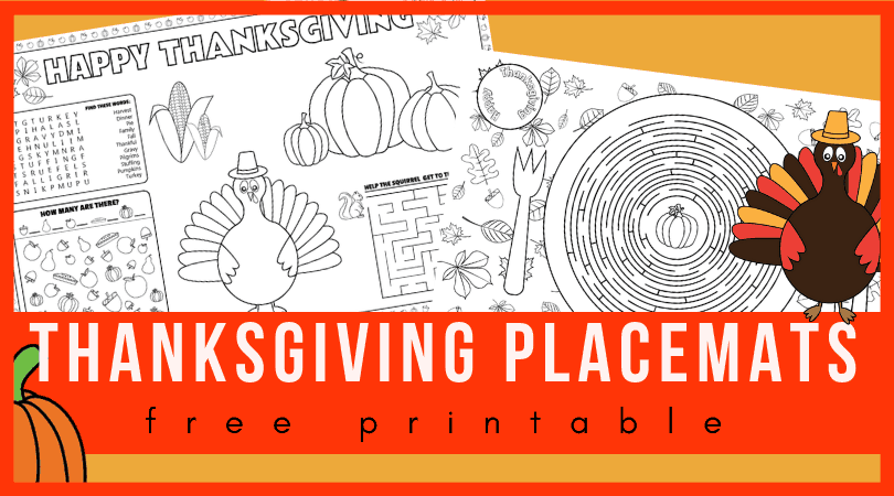image about Printable Thanksgiving Placemat called Printable Thanksgiving placemats for young children in direction of remedy and coloration
