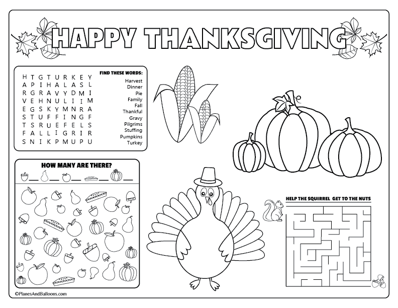 picture regarding Printable Thanksgiving Placemat identified as Printable Thanksgiving placemats for small children in the direction of resolve and colour