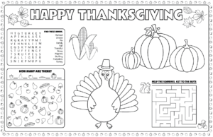 photograph about Printable Placemats for Preschoolers called Printable Thanksgiving placemats for youngsters in the direction of resolve and shade
