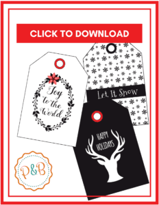 Christmas gift labels printable tags for free - Printable Christmas gift tags black and white! Perfect for friends, teachers, and adults. #christmas