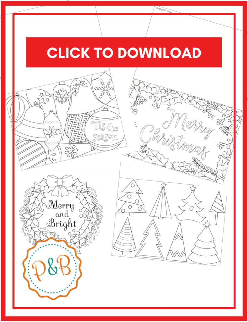 Free printable Christmas cards template for kids and adults to color in! Christmas cards templates coloring pages to be used as Christmas cards during the holidays. How fun! #christmas