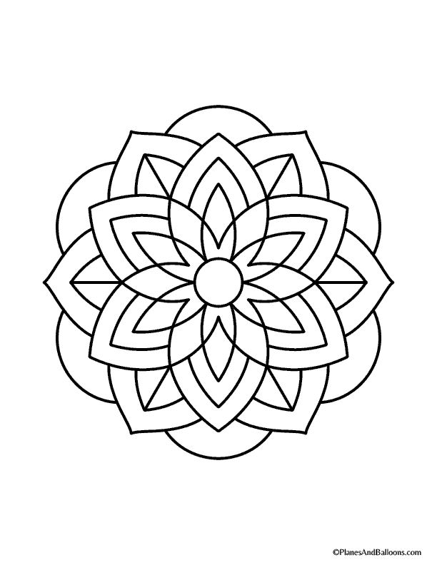easy mandalas to color-01 - Planes & Balloons | Printables for ...