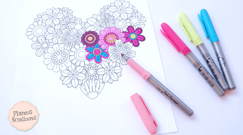 Heart coloring sheet full of detailed flowers so you can color your ...