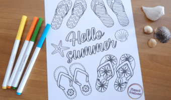 Flip flop coloring page: The perfect screen-free activity to enjoy together with your kids this summer