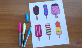 Simple and tasty ice cream coloring page for the hot summer days