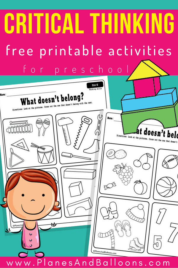 Preschool thinking skills printable worksheets. #preschool #prek
