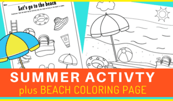 A quick summer activity sheet to practice reasoning skills while having fun coloring