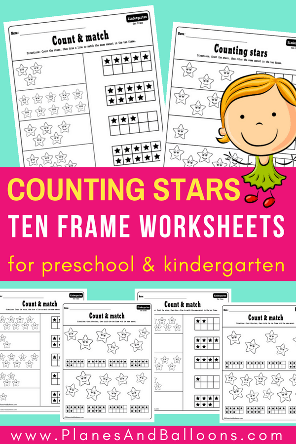 Free ten frame worksheets for kindergarten or preschool. These ar super fun and perfect for ten frame worksheets morning work or homework to hand out. #tenframes #kindergartenmath #freeworksheets #countingstars #countingto10