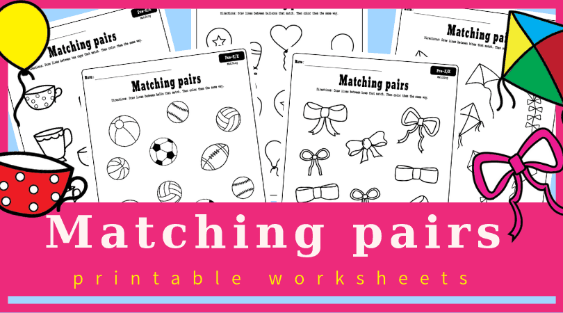 Free printable matching worksheets for preschool.