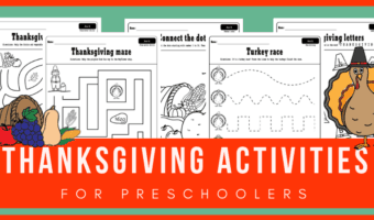 Check out these FREE PRINTABLE Thanksgiving activities for preschool! They include preschool tracing worksheets, THANKSGIVING abc activities, Thanksgiving activities for preschool math and more! Plus they can be used as Thanksgiving coloring pages as well. #thanksgiving #prek #preschool #freeworksheets