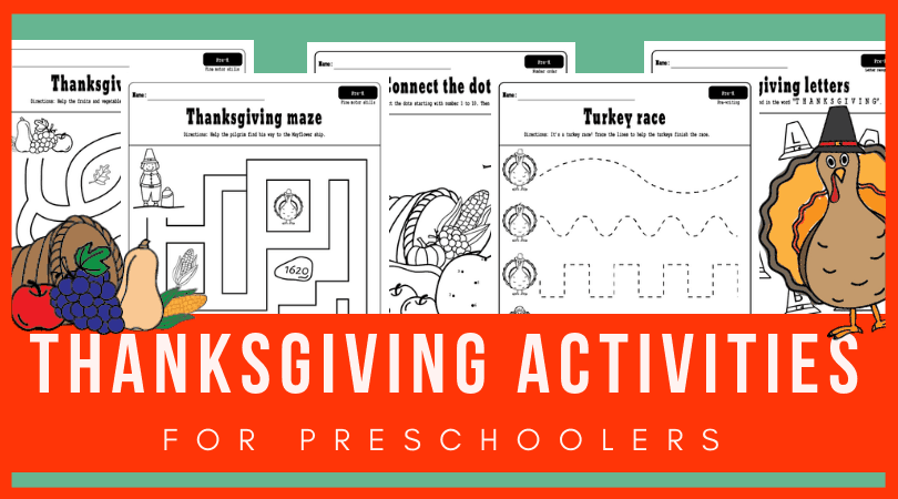 Check out these FREE PRINTABLE Thanksgiving activities for preschool! They include preschool tracing worksheets, THANKSGIVING abc activities, Thanksgiving activities for preschool math and more! Plus they can be used as Thanksgiving coloring pages as well.#preschool