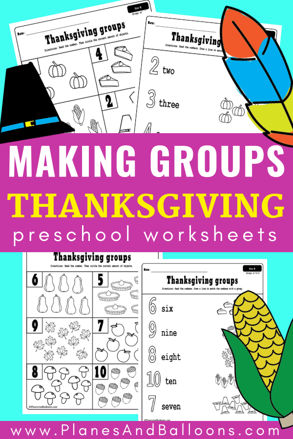 Look at these Thanksgiving math activities for PRESCHOOL! They make teaching about groups so fun. Use these Thanksgiving math worksheets for your holiday lesson plan at school or at home. These math worksheets are perfect for preschool math centers! #prek #preshoolmath #thanksgiving #mathactivities #mathworksheets #preschoolmathcenters