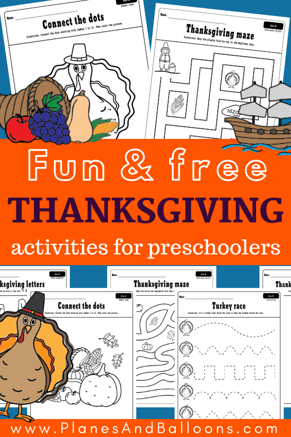 Check out these FREE PRINTABLE Thanksgiving activities for preschool! They include preschool tracing worksheets, THANKSGIVING abc activities, Thanksgiving activities for preschool math and more! Plus they can be used as Thanksgiving coloring pages as well. #worksheets