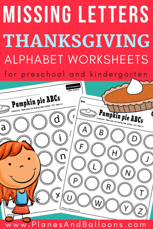 Look at these ABC activities kindergarten free printable set! Missing alphabet letters to fill in. Such a cute Thanksgiving idea with the pumpkin pie theme, too. Use these in your kindergarten literacy centers and stations.