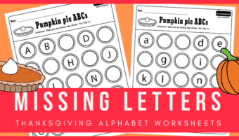 Pumpkin pie ABC: Free printable missing letters worksheets