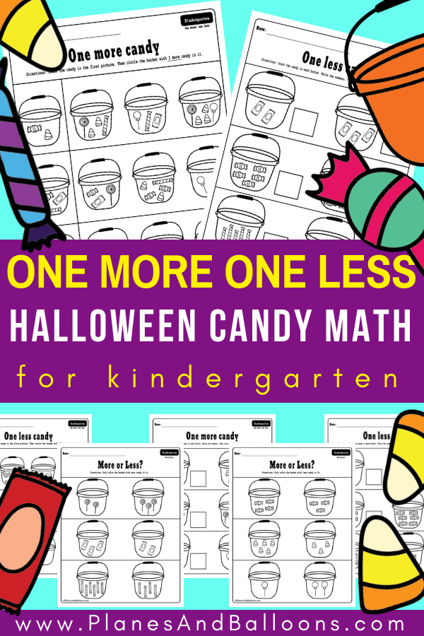 Halloween worksheets kindergarten for FREE! I like how they incorporate one more one less concept in these Halloween MATH worksheets. Just add these Halloween activities for school lessons or homework. #halloween #kindergartenmath #halloweenworksheets #onemoreoneless #mathconcepts #halloweenmath