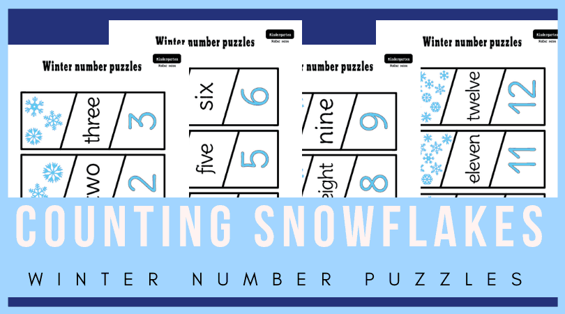 Add these counting puzzles to your winter math activities for kindergarten. Free number matching activities for winter unit. So fun! Perfect for printable number matching file folder games as well! #kindergarten