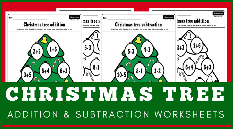 Fun Christmas addition worksheets free printable - Christmas math worksheets perfect for morning work. #kindergarten