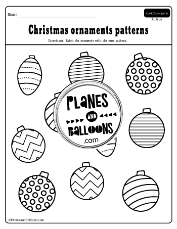 Christmas patterns worksheets