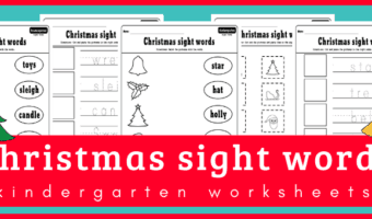 A set of free Christmas sight words kindergarten worksheets for your classroom. Perfect sight words activities for kindergarten centers.