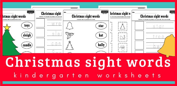 Christmas sight words kindergarten worksheets