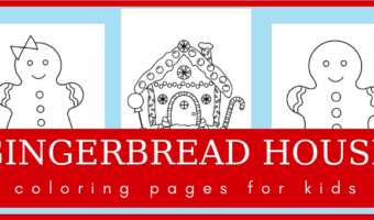 Gingerbread house and gingerbread cookies coloring pages
