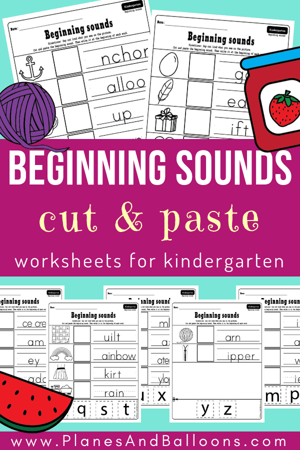 A set of beginning sounds kindergarten worksheets free printable. Included are cut and paste worksheets with the beginning sounds. Kindergarten kids will enjoy these.