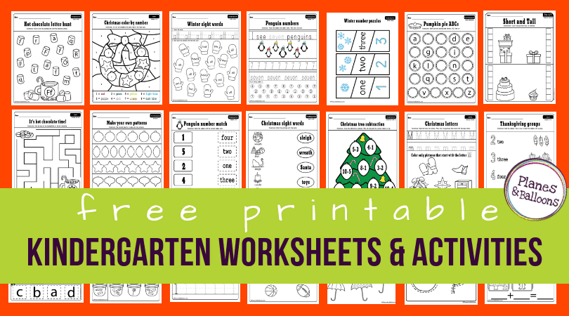 150 free printable worksheets for kindergarten instant download