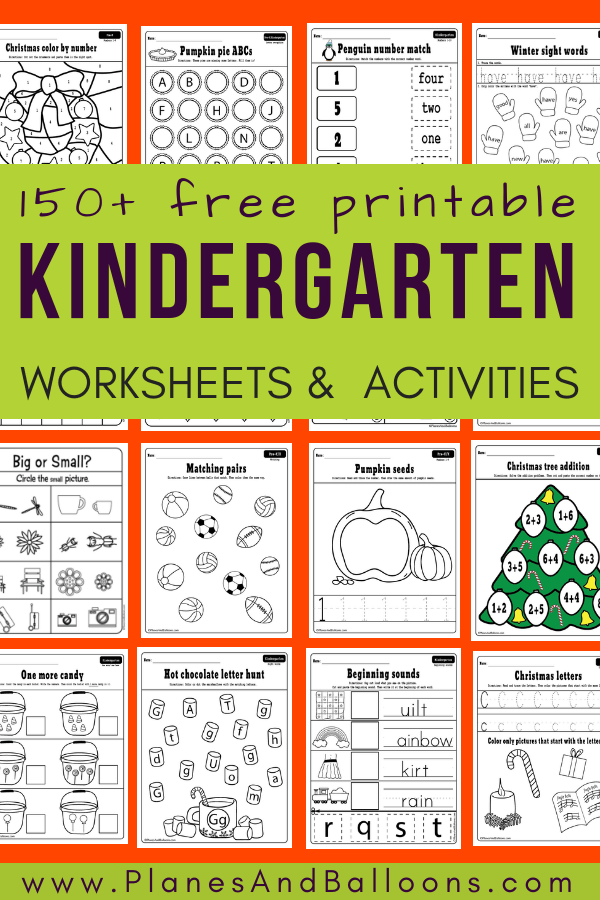 free printable worksheets kindergarten - Planes & Balloons | Let's ...