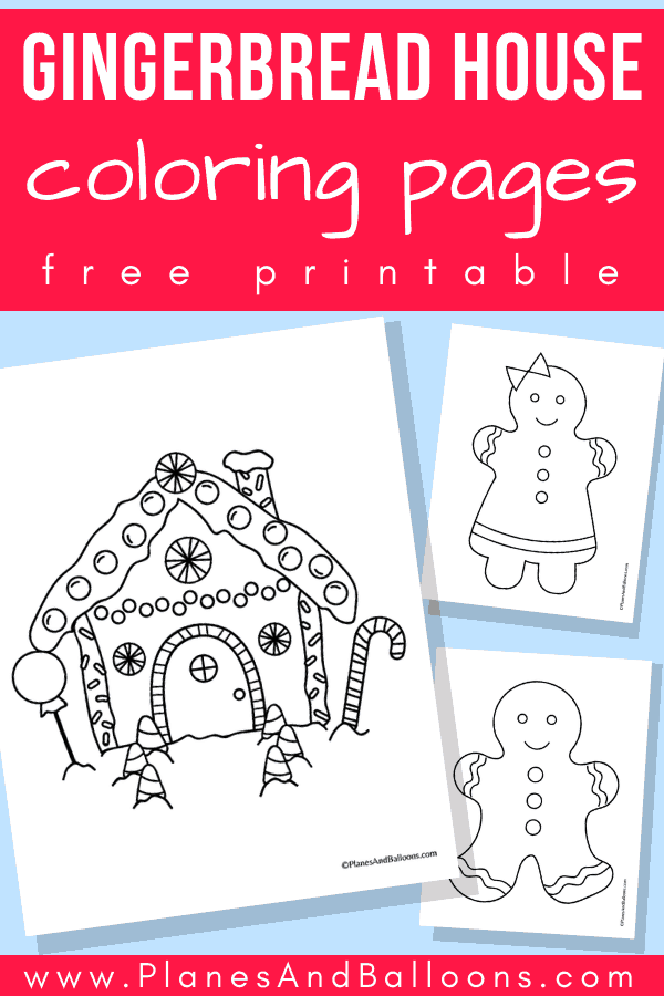 Simple and easy Christmas coloring pages for kids. Your toddler or preschoolers will love them! They include gingerbread house, gingerbread boy and girl too. #christmas