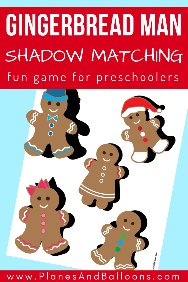 A list of gingerbread man activities for preschoolers! Plus free Christmas preschool gingerbread man worksheets for a fun shadow matching game. A perfect visual discrimination activity for preschool or occupational therapy even. #gingerbreadman